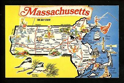 Map Greetings postcard Massachusetts MA State bird chicadee chrome