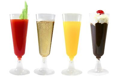 Plastic Champagne Glasses (42 Champagne Flutes: Premium 5.5 oz Clear Hard Plastic Disposable)