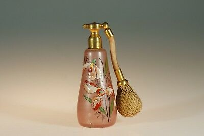 Vintage Czech Glass Pink Perfume Atomizer Handpainted Flowers c.1930