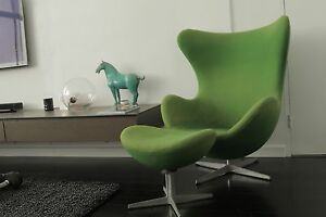 Green felt replica Arne Jacobsen Egg Chair and stool Woolloomooloo Inner Sydney Preview