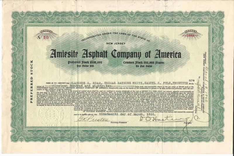 NEW JERSEY Amiesite Asphalt Co of America Stock Certificate 1925