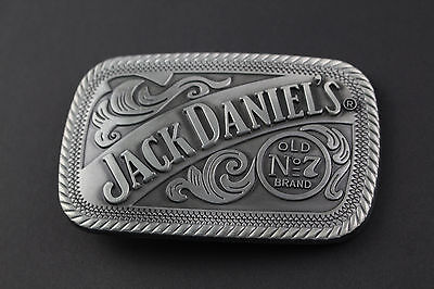 RECTANGLE JACK DANIELS GREY OLD NUMBER 7 BRAND BELT BUCKLE METAL