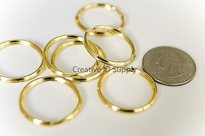 "WHOLESALE LOT 100 KEY RINGS 24mm 1"" Split Ring GOLD"
