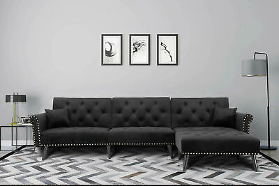 Modern Large Microfiber Fabric Sectional Sofa L-Shape Couch Wide Chaise Black Black Microfiber Couch