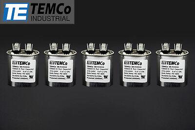 Temco 5 Mfd Uf Run Capacitor 370440 Vac Volts 5 Lot Ac Motor Hvac 5 Uf