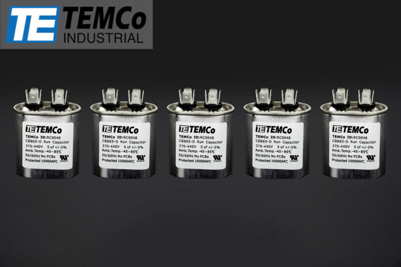 TEMCo 5 MFD uF Run Capacitor 370/440 vac Volts 5 LOT AC Motor HVAC 5 uf