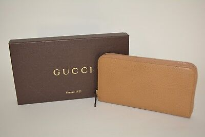 NIB GUCCI WOMENS LEATHER ZIP AROUND WALLET CLUTCH MADE IN ITALY