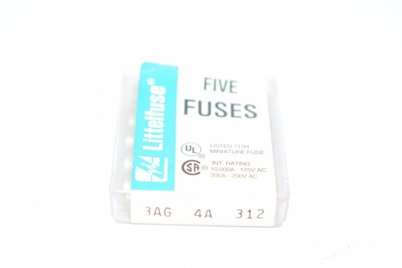 Pack of 5 NEW Littelfuse 3AG 4A 312 Fuses