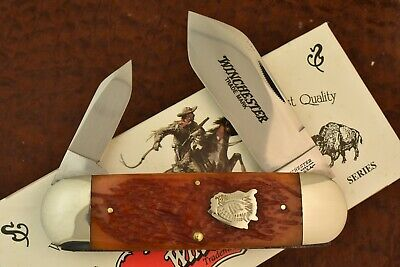 WINCHESTER USA BURNT ORANGE BONE ELEPHANT TOENAIL SUNFISH KNIFE 1996 NICE (7566)