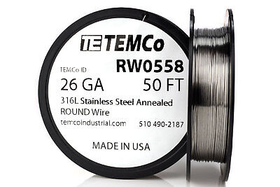 Temco Stainless Steel Wire Ss 316l - 26 Gauge 50 Ft Non-resistance Awg Ga