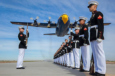 8x12 Photo A U.S. Marine Corps C-130T Hercules aircraft with the Blue Angels
