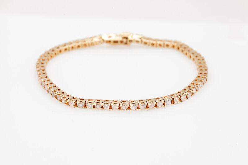 Estate $10,000 4ct Diamond 14k Yellow Gold Box Link Tennis Bracelet Nice!!!
