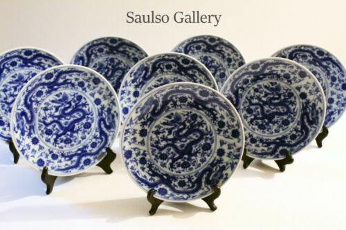 Early Chinese lucky Ming Dragon motif plates set of 8 from prominent estate