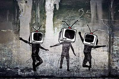 Banksy TV Heads Television Street Art Graffiti Large 12x18