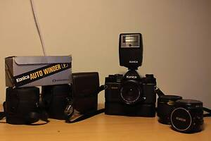 Konica FP-1 (1981-83) w/ lenses, flash, winder and teleconverter Darlington Mundaring Area Preview