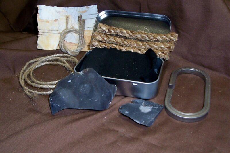English Flint and Steel Fire Starter Kit, Complete with Char, Flint Sharpener