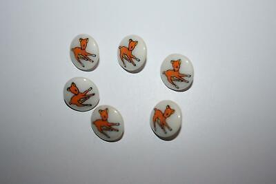 Set of 6 Baby Deer Children's Vintage Buttons