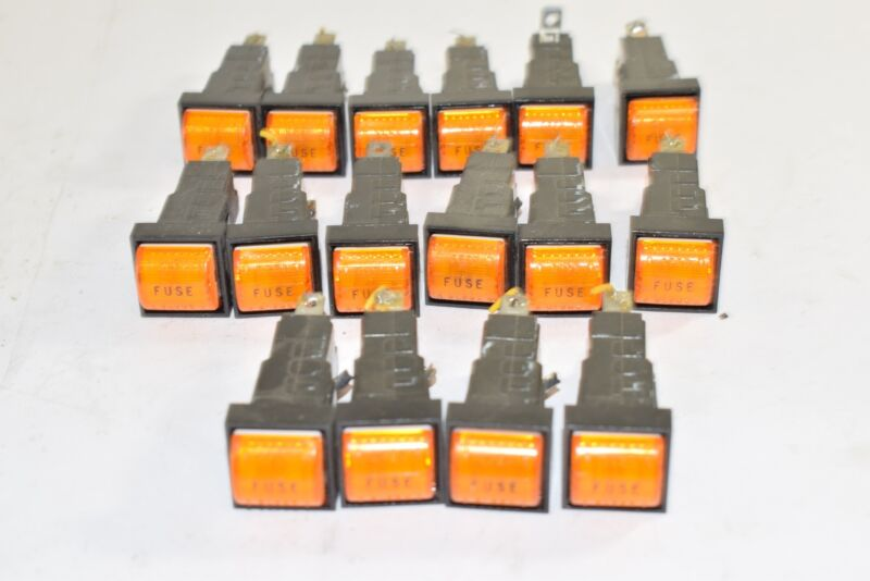 Lot of 16 Illuminated Fuse On Switches/Plugs, Orange