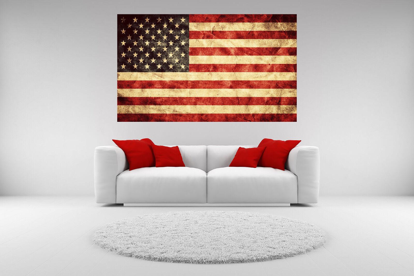 "24/"" x 36/"" Canvas Wall Art Prints Closeup of Grunge American Flag Vintage Retro"