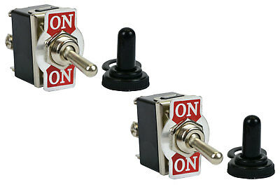2 Pc Temco 20a 125v On-on Dpdt 6 Terminal Toggle Switch W Waterproof Boot Cap