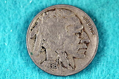 Estate Find 1936 - D Buffalo Nickel F7922 - $2.50