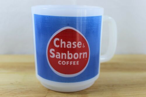 Vintage Chase and Sanborn Milk Glass Coffee Mug