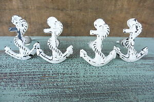 Distressed White ANCHOR Knob - Drawer Cabinet Pull - Beach Nautical Boat Decor