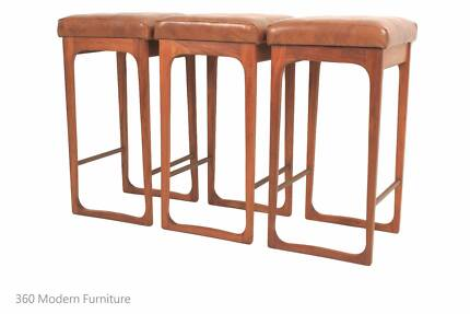 Mid Century x 3 Easden Module Bar Stools Sleigh Leg Retro Vintage