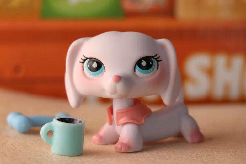 Taylorlps Custom Peach Dachshund OOAK Pink Dachshund White Body Blue Drip Eyes