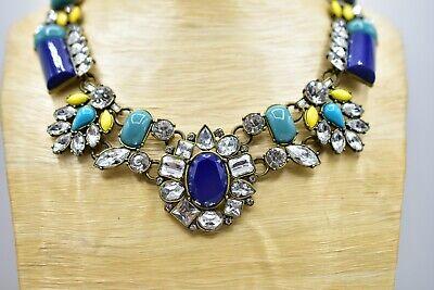 Mark Statement Necklace Heavy Jeweled Rhinestone Crystal Blue Bib Yellow BinI Crystal Bib Statement Necklace