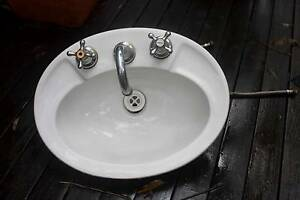 White ceramic sink with taps Greystanes Parramatta Area Preview