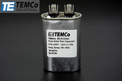Temco 15 Mfd Uf Run Capacitor 440 Vac Volts Ac Motor Hvac 15 Uf