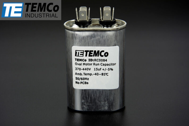 TEMCo 15 uf/MFD 370-440 VAC volts Oval Run Capacitor 50/60 Hz -Lot-1