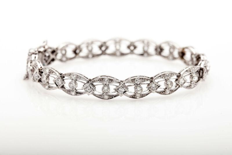 Antique 1920s $12,000 4ct Old Euro Vs I Diamond Platinum Eye Link Bracelet Rare