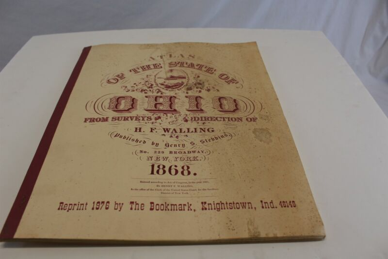 """1976 Reprint of 1868 Atlas of State of Ohio 17"""" x 14"""" with 68 Pages"""