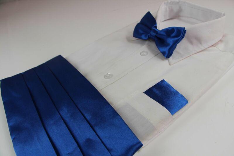 Mens Blue Cummerbund & Matching Plain Bow Tie And Pocket Square Set
