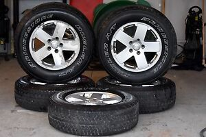 Set of 5 Jeep jk rims and tires 18""