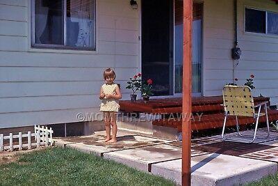 1970 COLOR SLIDE 1438 Ohio Sweet Barefoot Little Girl on Patio Web Chairs