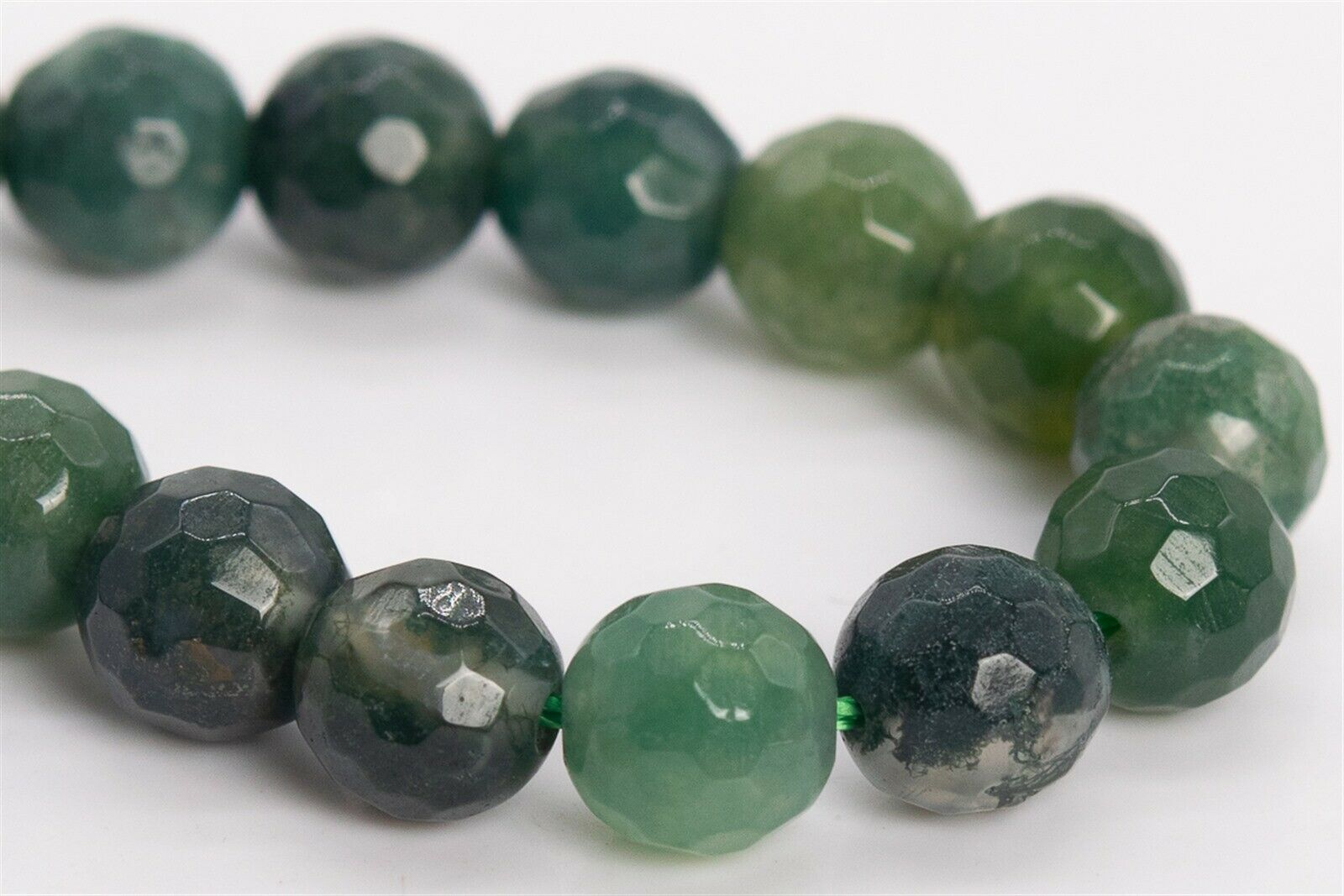 """6MM MOSS QUARTZ  GEMSTONE AA FACETED ROUND 6MM LOOSE BEADS 15/"""""""