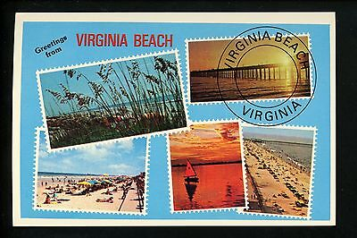 Modern Greetings postcard Stamp Design Virginia Beach Virginia VA Sailboat Sun