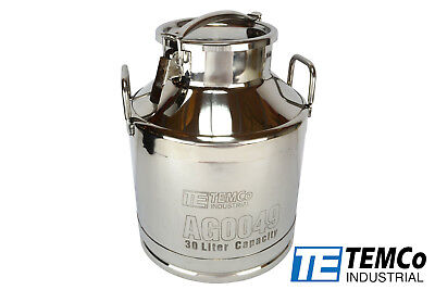 Temco 30 Liter 8 Gallon Stainless Steel Milk Can Wine Pail Bucket Tote Jug