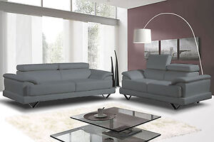 Cosmo Grey Leather 3 + 2 Seater Leather Sofa's