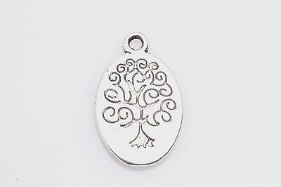 DIY Wholesale Lot 10 PCS Tibetan Silver Crafts Oval Flowers Charms Pendants za15