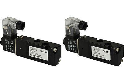2x 12v Dc Solenoid Air Pneumatic Control Valve 5 Port 4 Way 2 Position 18 Npt