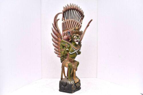 """VTG carved wood figure Hindu Buddhist Garuda Vishnu Bali painted statue LG 21"""""""