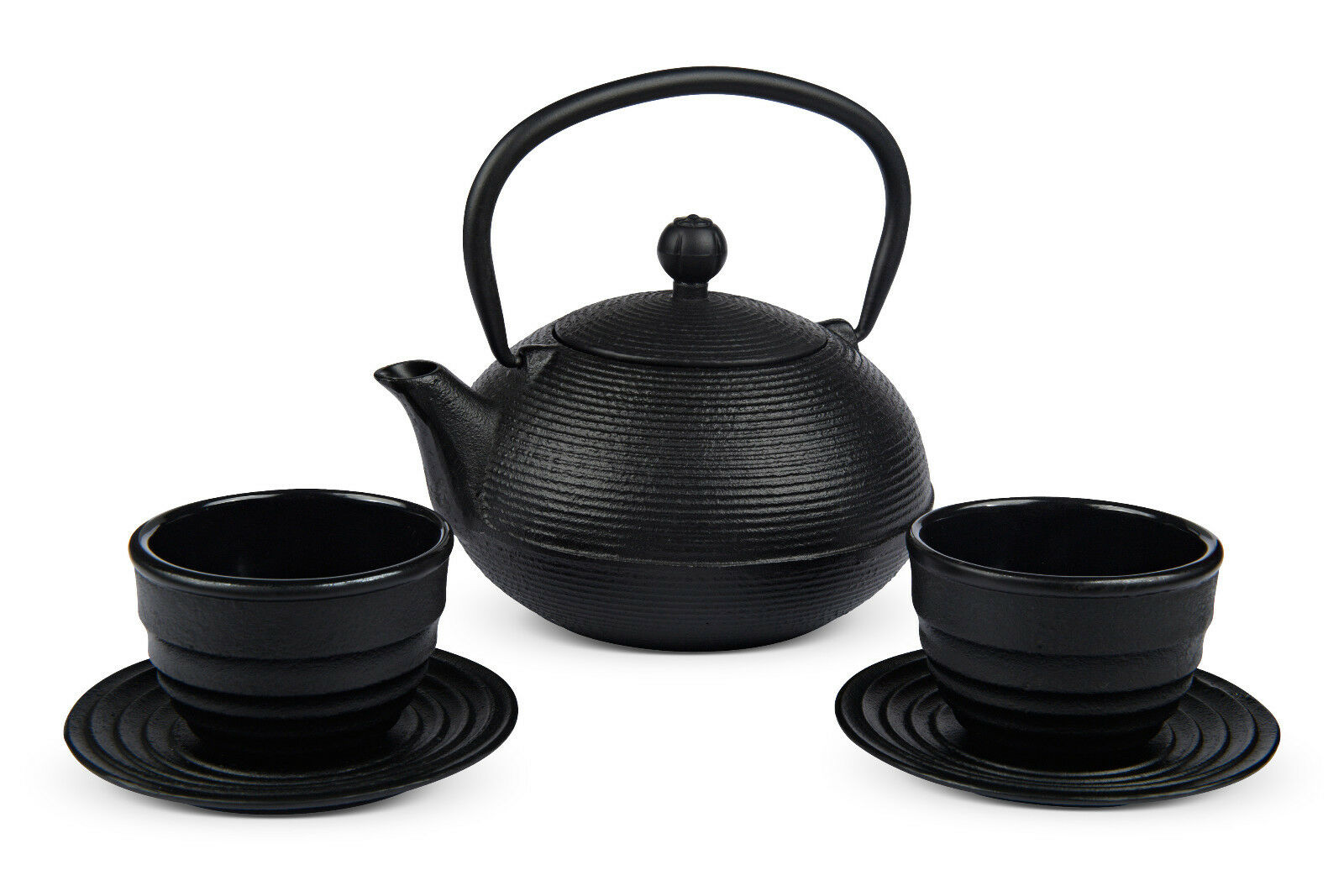 Japan Design - Set Gusseisen Teekanne Iruma 0,9 ltr. schwarz + 2 Teacup-Sets