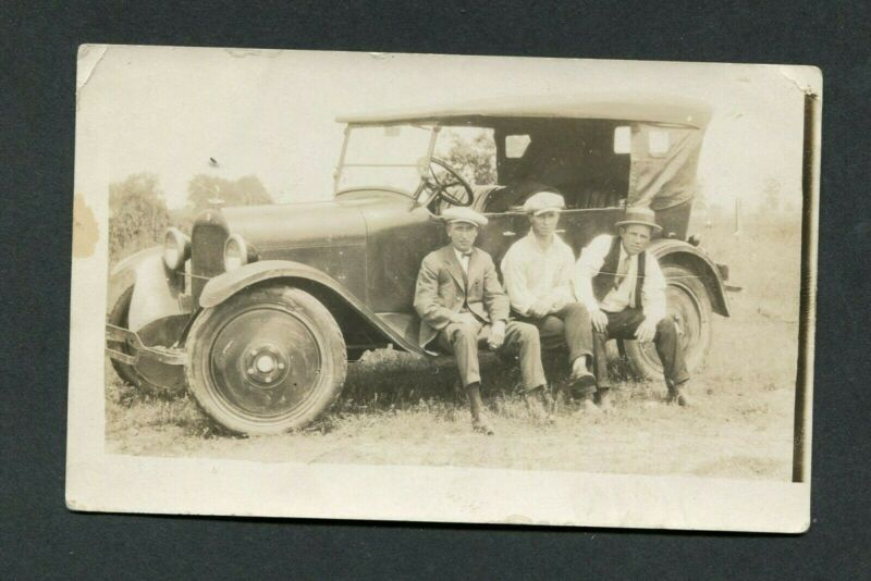 Vintage Real Photo Postcard 3 Men w/ 1920 Dodge Touring Car 401054
