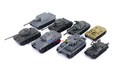 Set of 1/144 Mini Tank WWII Model Kit (8 Diff) Tiger I T34 IS2 Panzer Jagdtiger