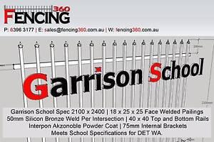 Garrison Security Fencing 2100H x 2400W includes Post & Bracket Bibra Lake Cockburn Area Preview