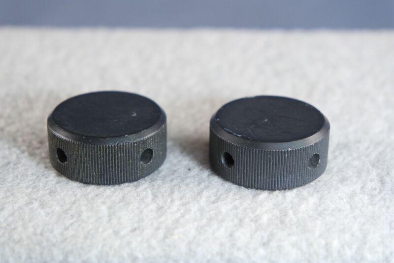 """Pair (two) Collins Radio 1.25"""" Solid Black Aluminum Knob CU-547 UHF Coupler #2"""